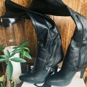 Black Nine West High Boots with Heel